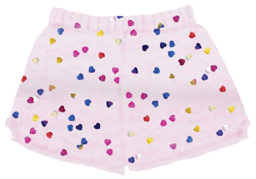Foil Multi Heart Plush Shorts