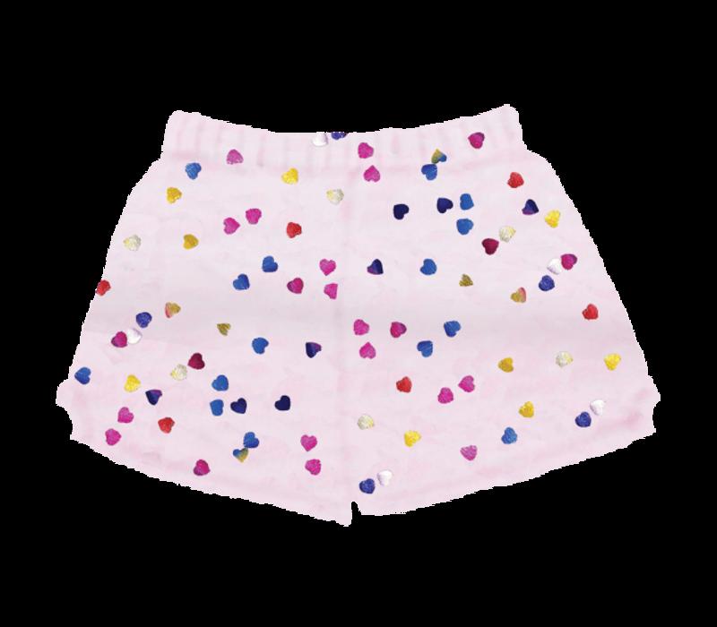 Foil Multi Heart Plush Shorts