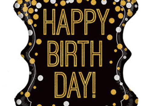 "34"" Happy Birthday Balloon Black with Gold"