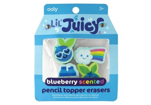 Lil Juicy Blueberry  Scented pencil Toppers Erasers