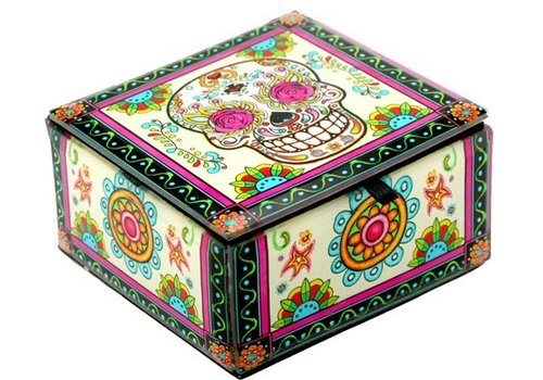 Rosy Sugar Skull Box Glass