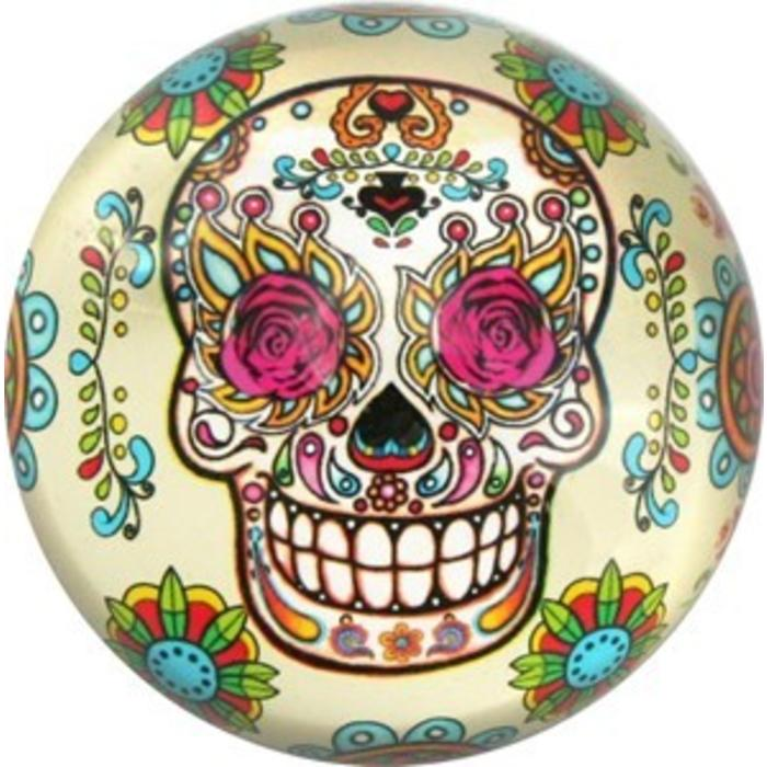 Rosy Sugar Skull Glass Paperweight
