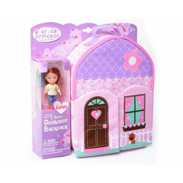 Everyday Princes ZipBin 40 Doll Dollhouse Backpack w/ 1 Doll