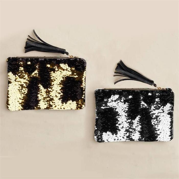 Silver Reversible Sequin Pouch