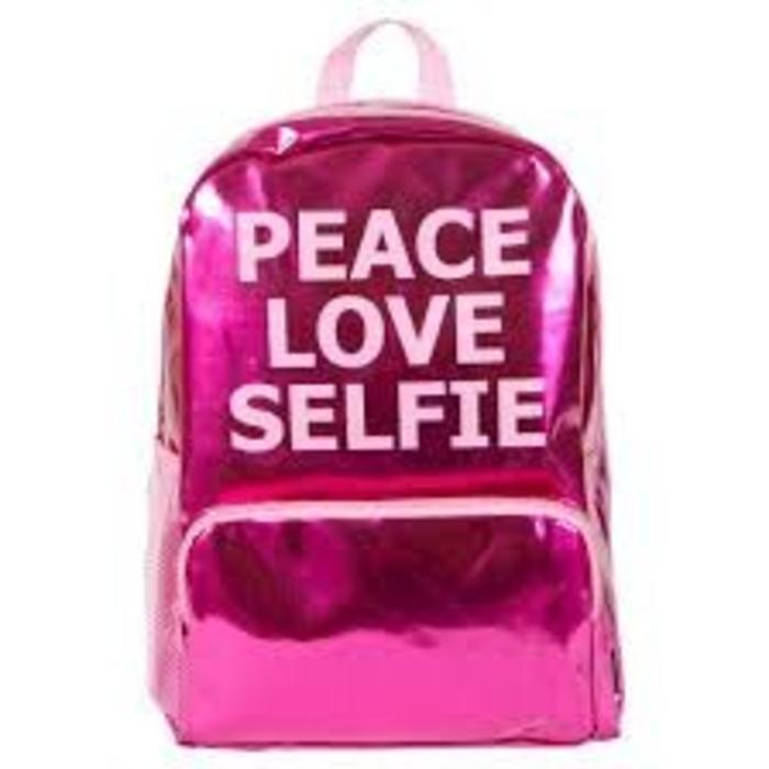 Peace Love Selfie Pink Metallic Backpack