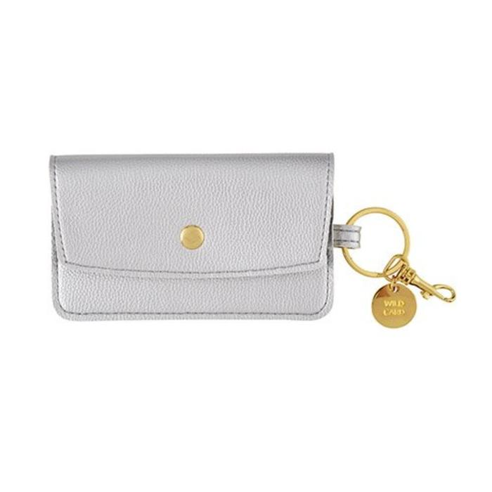 Silver Credit Card Keychain Pouch