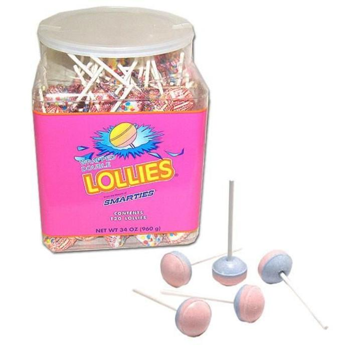 Smarties Double Lollies in a tub