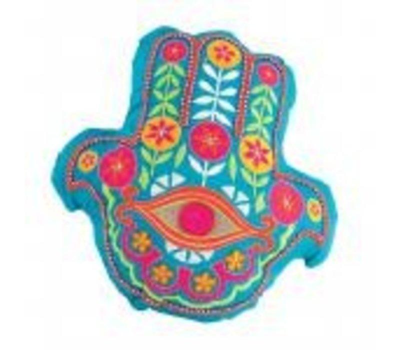 Hamsa Pillow- Turquoise