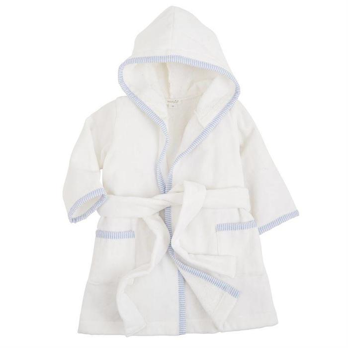 Blue Seersucker Hooded Robe