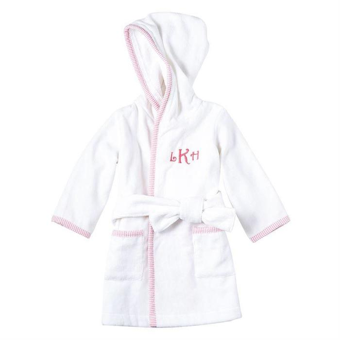 Pink SeerSucker Hooded Robe