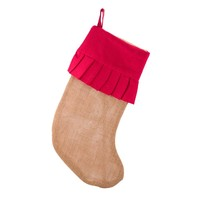 Burlap Jute Stocking With Ruffle