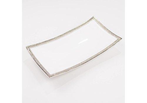 Harborside Rectangle Serving Tray Silver/White 13.5x7