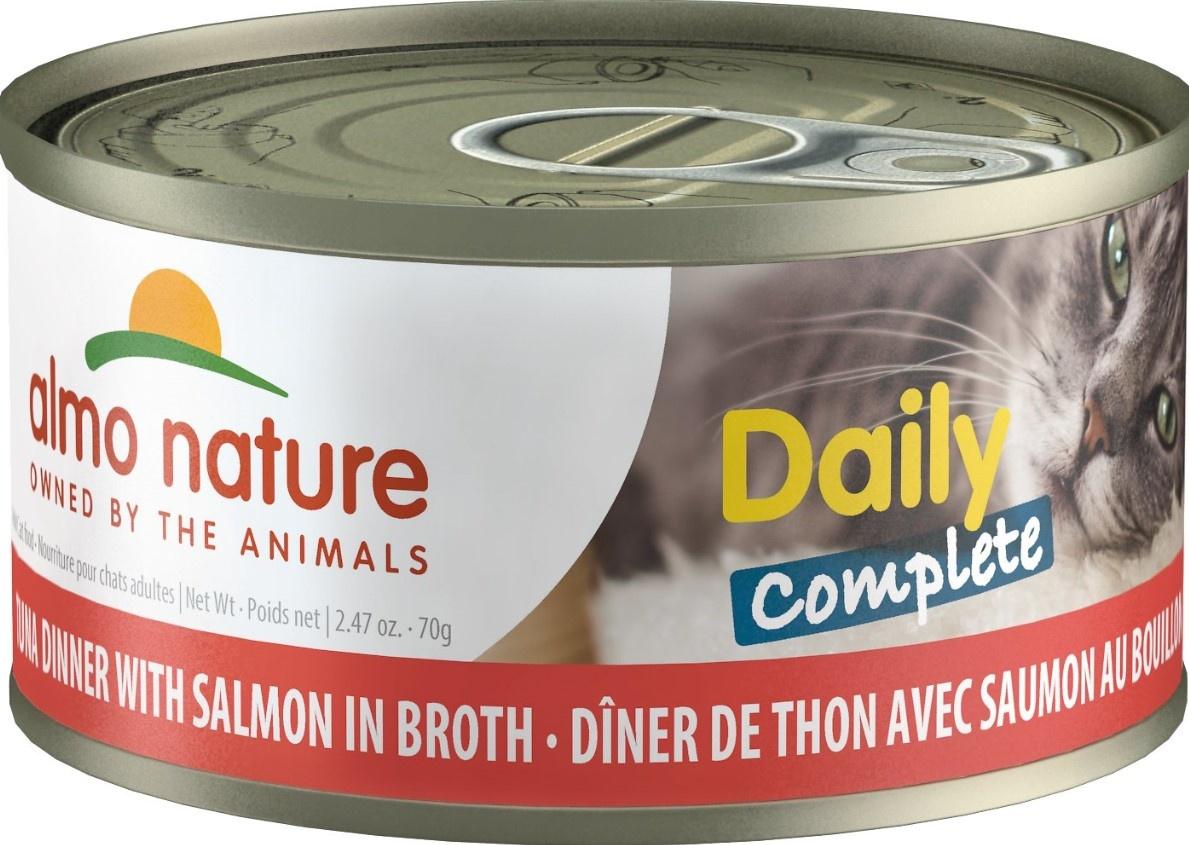 Almo Nature Dîner complet de thon et saumon en bouillon