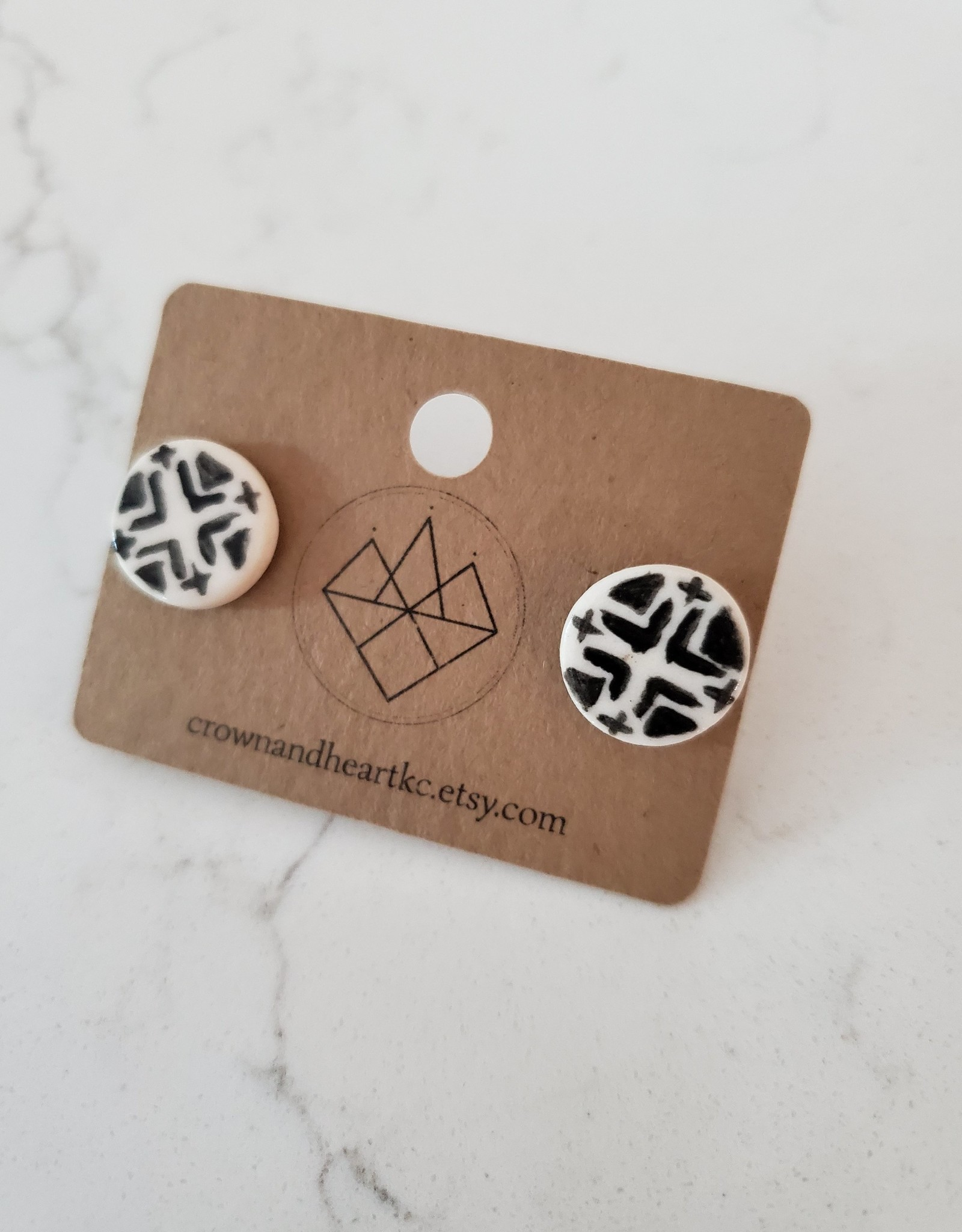 Crown & Heart Black & White Aztec Circle Studs by Crown & Heart