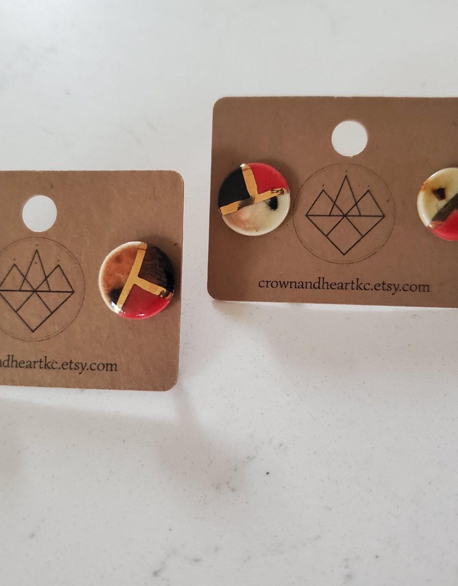 Crown & Heart Color Block Tattoo Studs by Crown & Heart