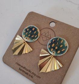 Crown & Heart Emerald Green + Brass Leaf Earrings by Crown & Heart