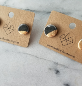 Crown & Heart Gold Dip Circle Studs by Crown & Heart