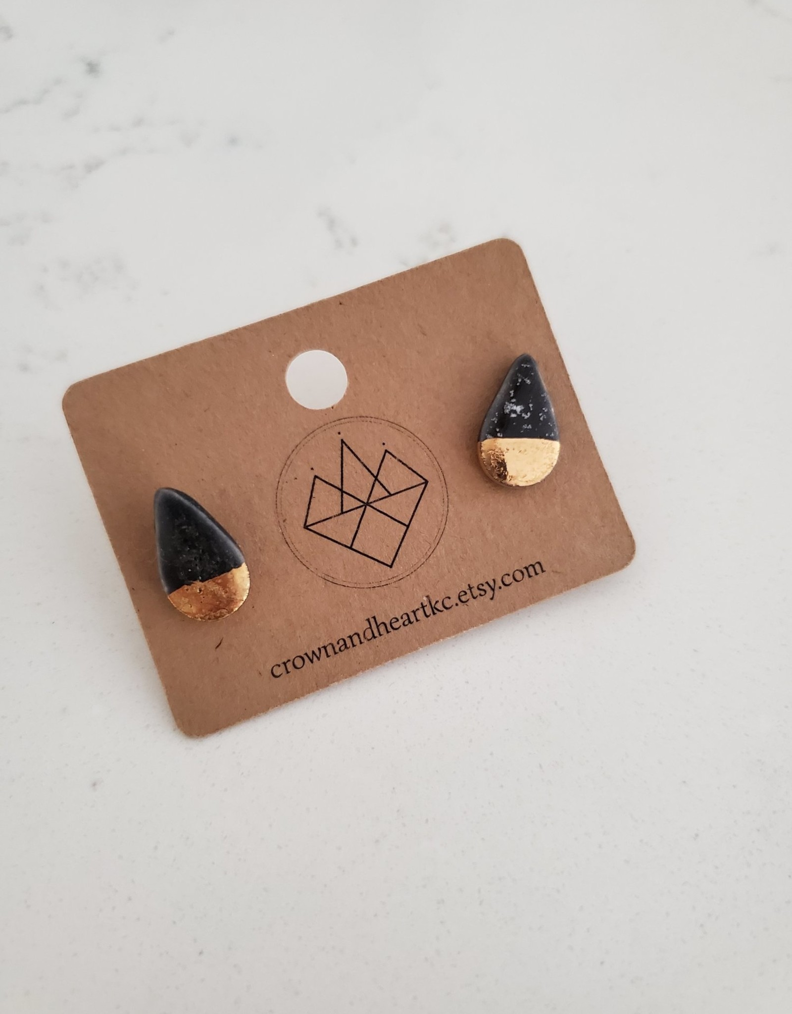 Crown & Heart Gold Dip Drop Studs by Crown & Heart