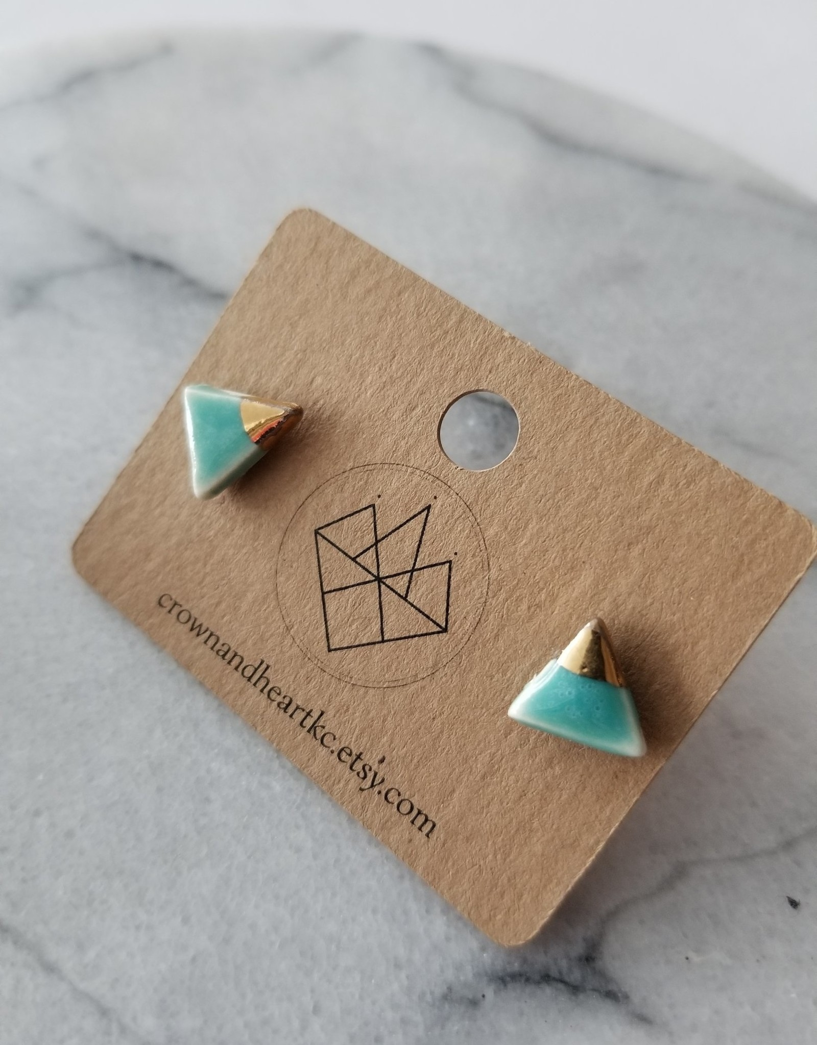 Crown & Heart Gold Dip Triangle Studs by Crown & Heart