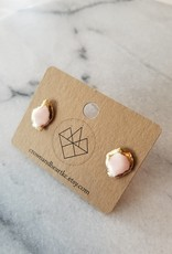 Crown & Heart Gold Rimmed Agate Studs by Crown & Heart
