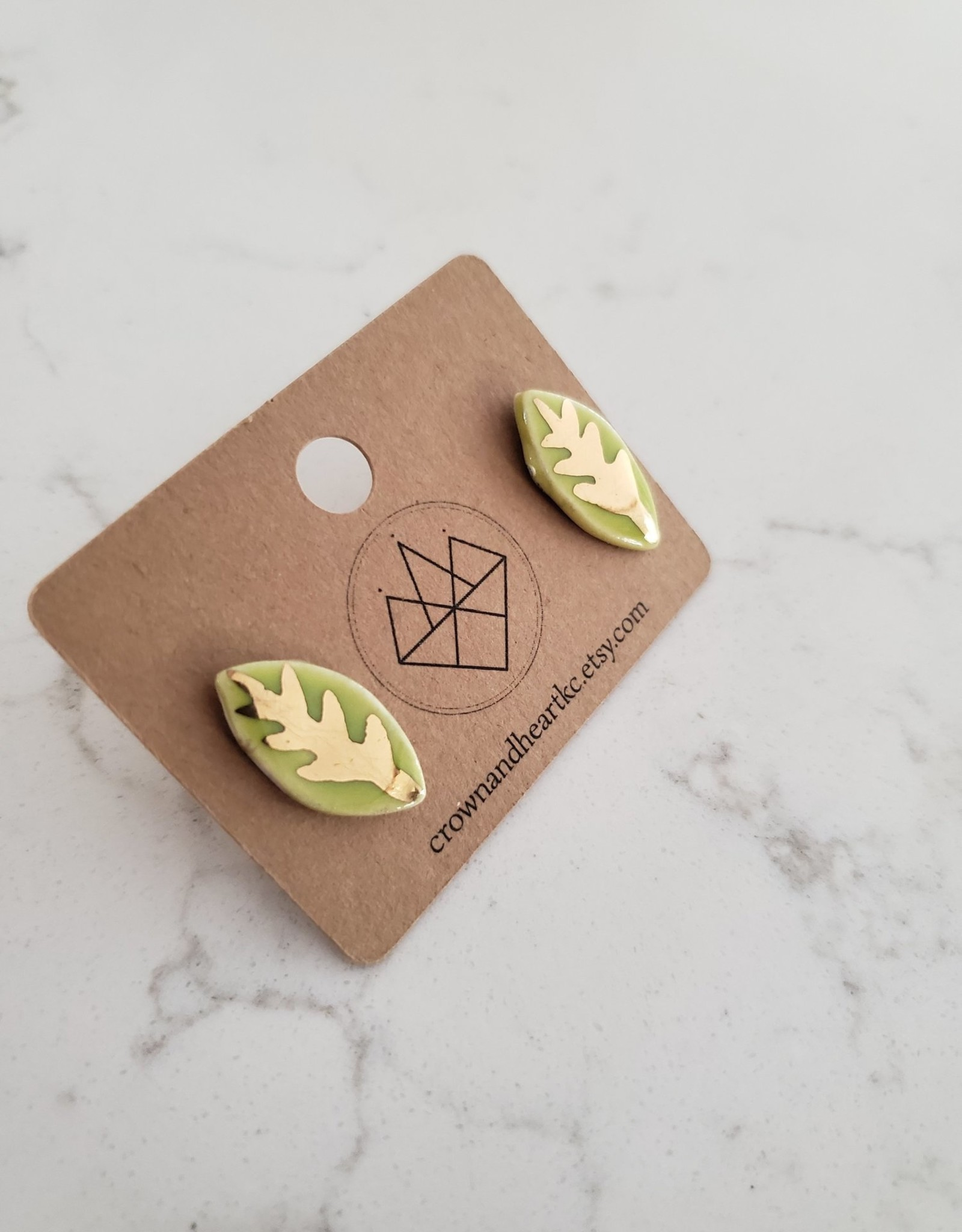 Crown & Heart Leaf Studs by Crown & Heart