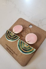 Crown & Heart Pink and Green Statement Earrings by Crown & Heart