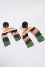 Crown & Heart Spring Striped Arch Statement Earrings by Crown & Heart