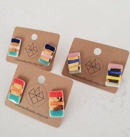 Crown & Heart Striped Rectangle Studs by Crown & Heart