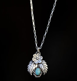 sara forrest design Double Leaf Turquoise Necklace by Sara Forrest Design