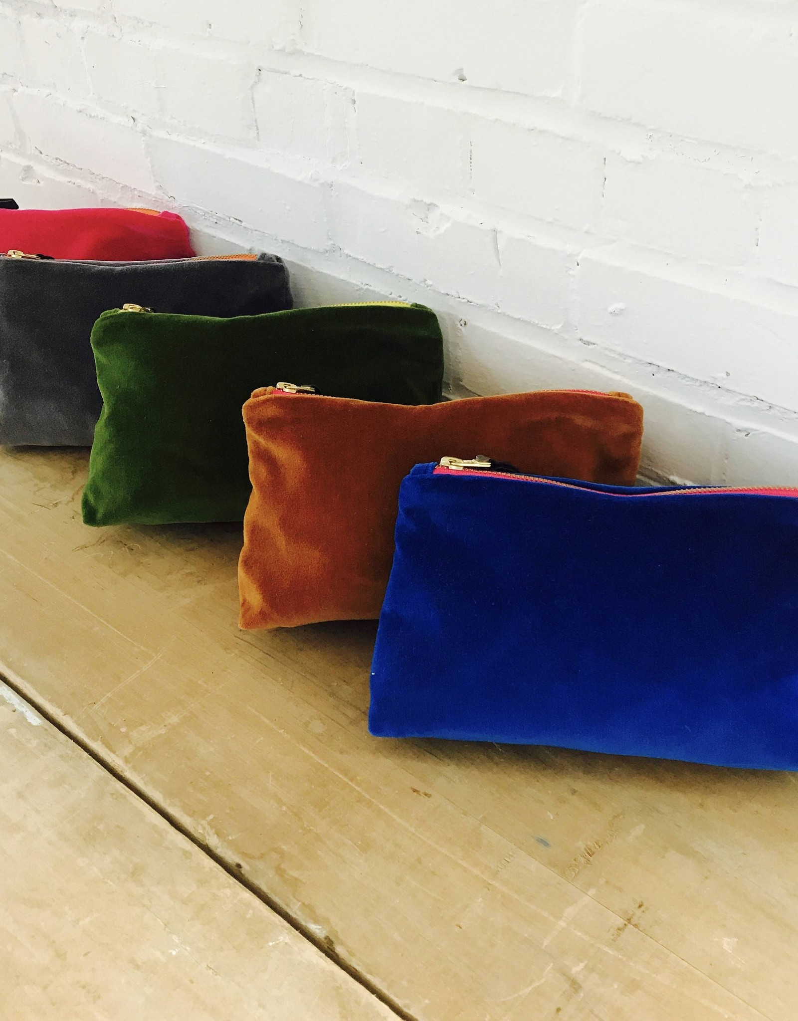 Erin Flett Velvet Zipper Bags by Erin Flett