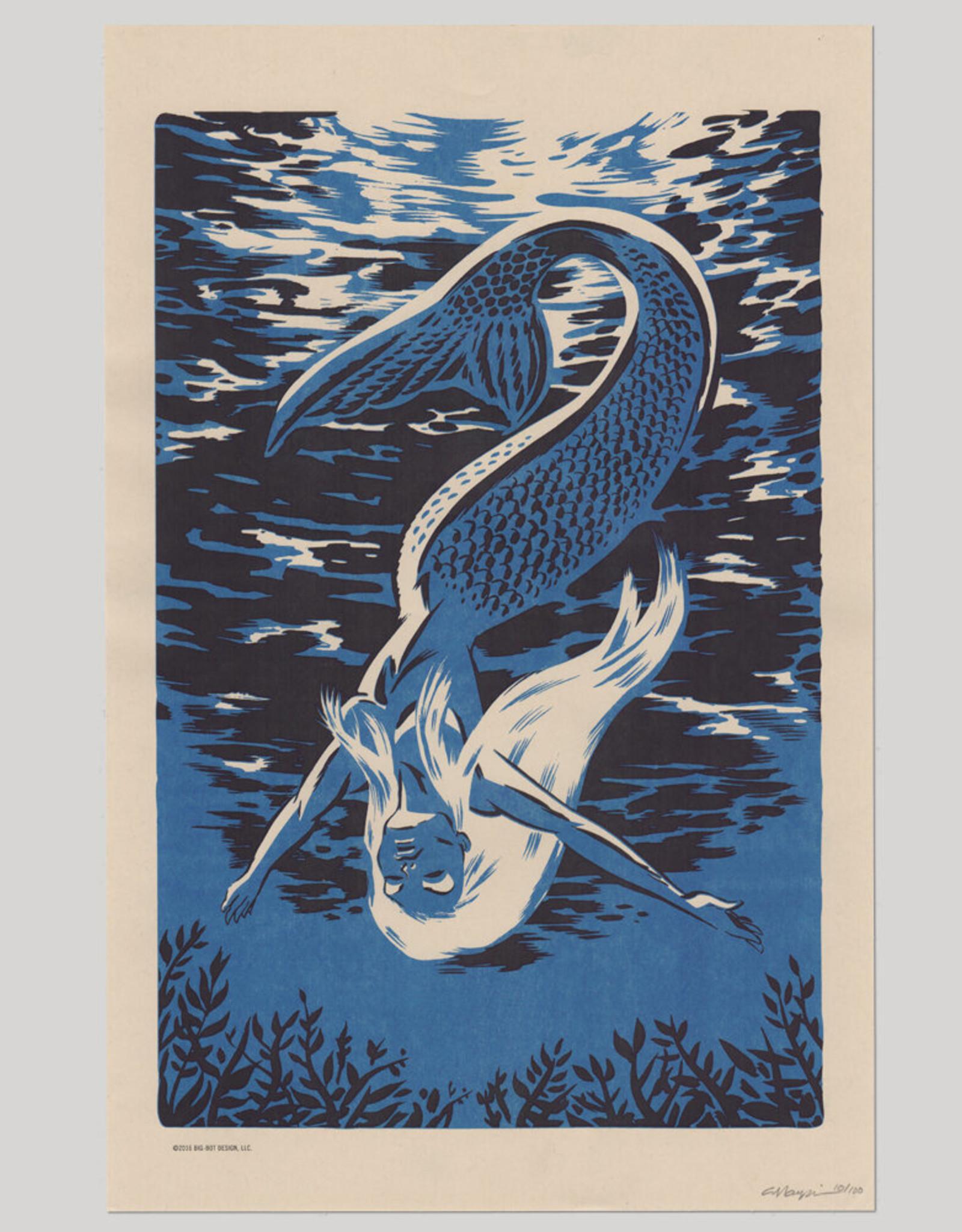 Big Bot Designs Mermaid Diver Risograph Print