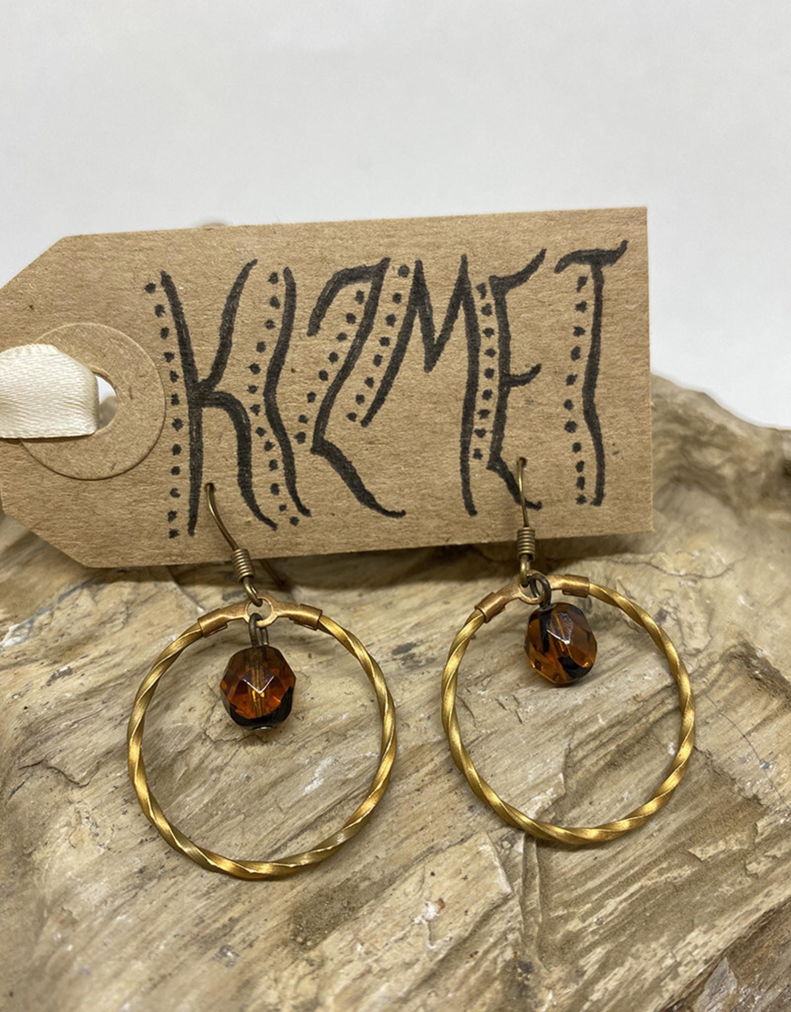 kizmet jewelry Amber Jewel in Brass Twisted Circle Earrings by Kizmet Jewelry