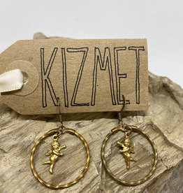 kizmet jewelry Baby Cupids in Twisted Brass Hoops Earrings by Kizmet Jewelry