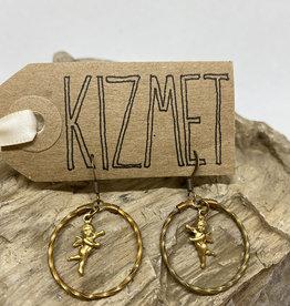 kizmet jewelry Baby Cupids in Twisted Brass Hoops Earrings by Kizmet Jewelry