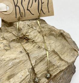 kizmet jewelry Pyrite Brass Drop Earrings by Kizmet Jewelry