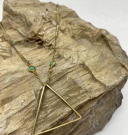 kizmet jewelry Brass Triangle + Swarovski Necklace by Kizmet Jewelry