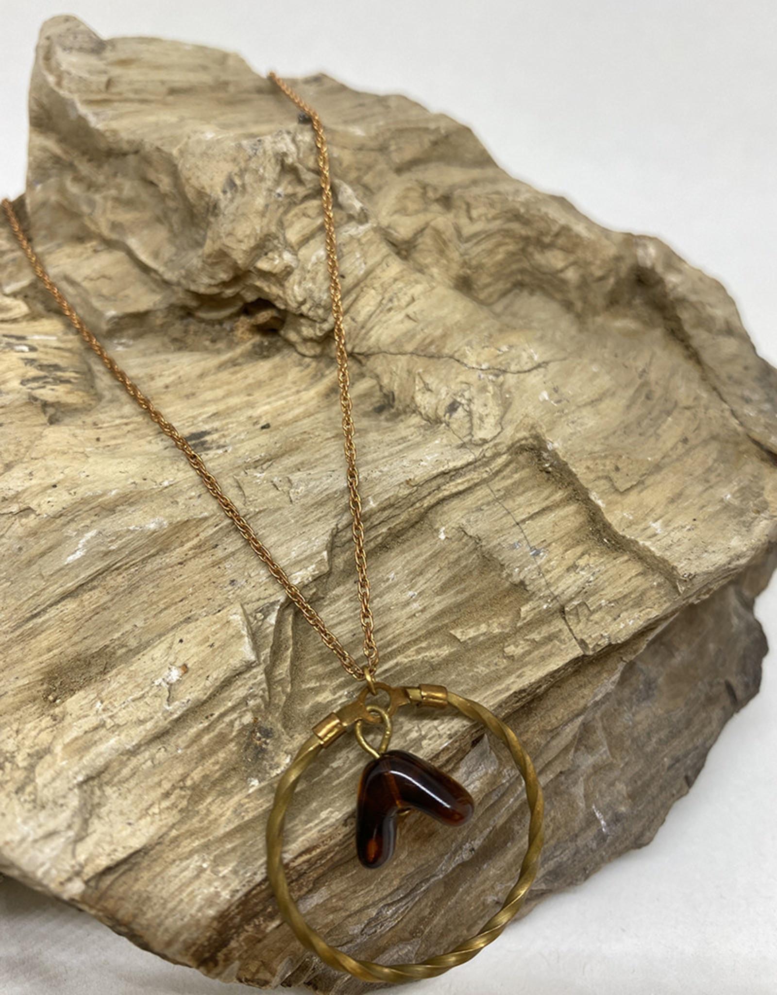 kizmet jewelry Tortoise Bead in Twisted Hoop Necklace by Kizmet Jewelry