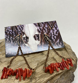Perilin Jewelry Coral & Copper Earrings by Perilin Jewelry