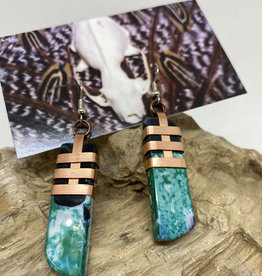 Perilin Jewelry Green Agate Earrings by Perilin Jewelry