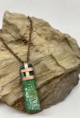 Perilin Jewelry Green Agate Necklace by Perilin Jewelry
