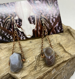 Perilin Jewelry Lace Agate Earrings by Perilin Jewelry