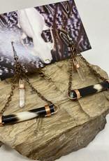 Perilin Jewelry Quill + Crystal Earrings by Perilin Jewelry