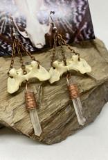 Perilin Jewelry Sacrum & Quartz Earrings by Perilin Jewelry