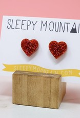 Sleepy Mountain Red Glitter Heart Acrylic Studs by Sleepy Mountain