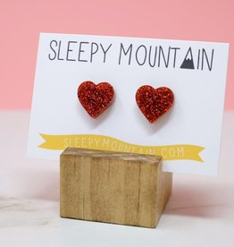 Sleepy Mountain Red Glitter Heart Acrylic Studs by Sleepy Mountain