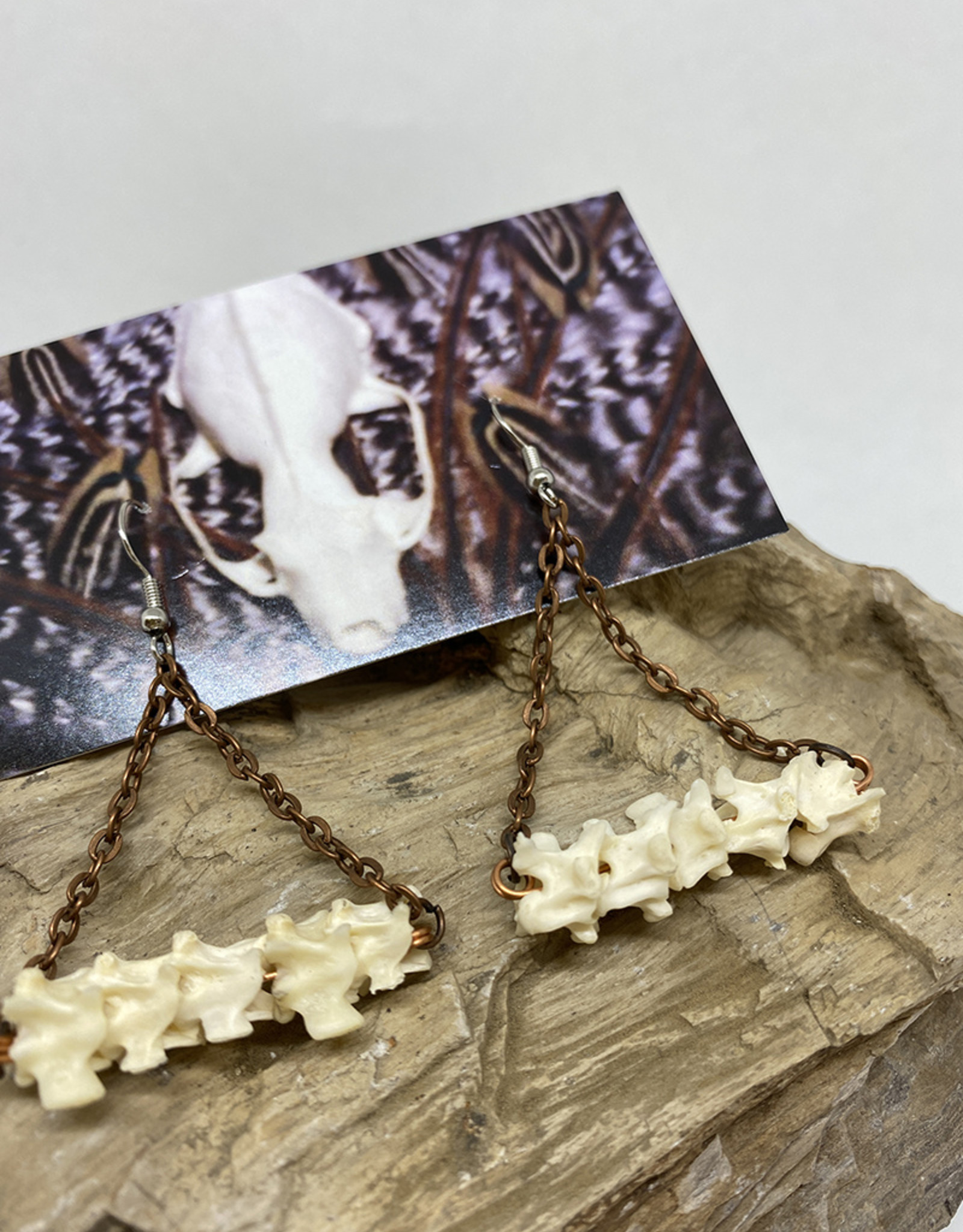 Perilin Jewelry Vertebrae & Copper Earrings by Perilin Jewelry