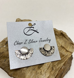 Char Z Jewelry Silver Sunflower Post Earrings by Char Z Jewelry