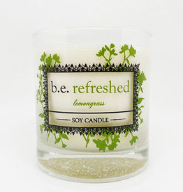 b.e. nurtured Be Refreshed Lemongrass Soy Pillar Candle