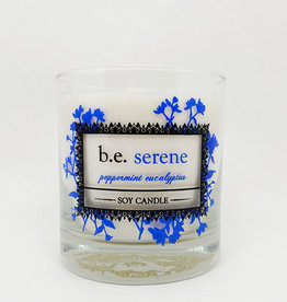 b.e. nurtured Be Serene Peppermint Eucalyptus Soy Pillar Candle