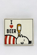 Dick Daniels I Love Beer Image Transfer on Wood Block